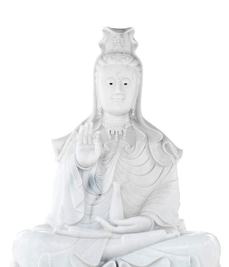 Free White Jade Stone Carving Kuan Yin Statue Stock Images - 25510354