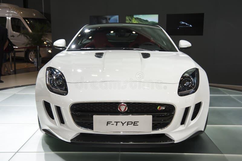 White jaguar ftype car stock photo