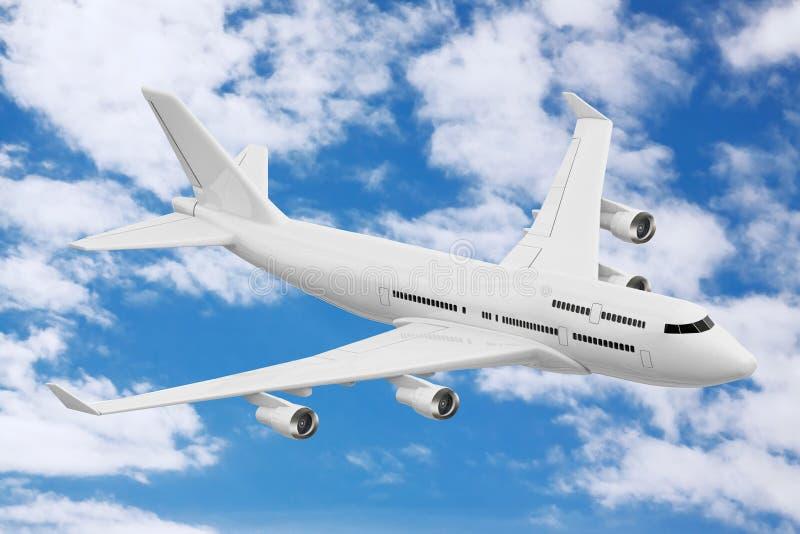White Jet Passenger`s Airplane. 3d Rendering royalty free stock photos
