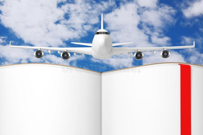 White Jet Passenger`s Airplane over Opened Book with Blank Pages for Your Design. 3d Rendering royalty free illustration