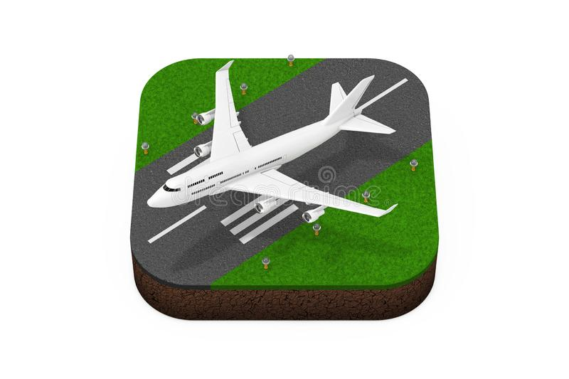 White Jet Passenger\'s Airplane Takeoff from Runway Isometric Icon. 3d Rendering. White Jet Passenger\'s Airplane Takeoff from Runway Isometric Icon on a white royalty free illustration