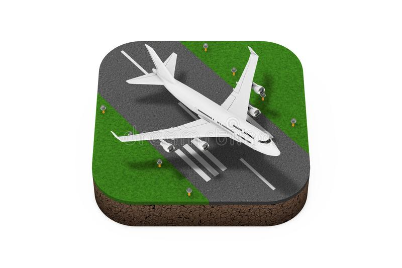 White Jet Passenger\'s Airplane Takeoff from Runway Isometric Icon. 3d Rendering. White Jet Passenger\'s Airplane Takeoff from Runway Isometric Icon on a white stock illustration