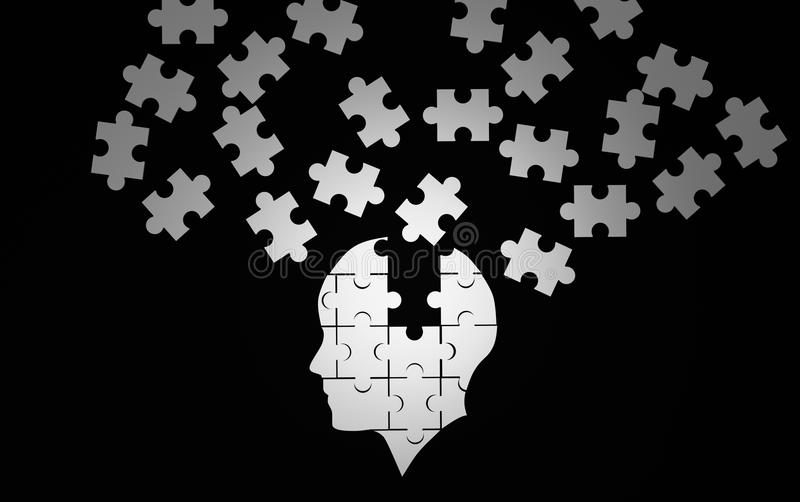 White jigsaw puzzle as a human brain on black. Concept vector illustration