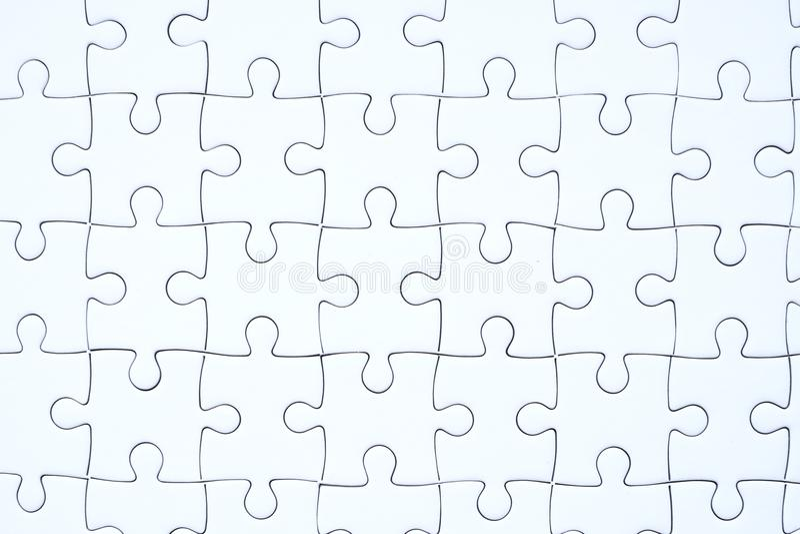White jigsaw puzzle background stock photos