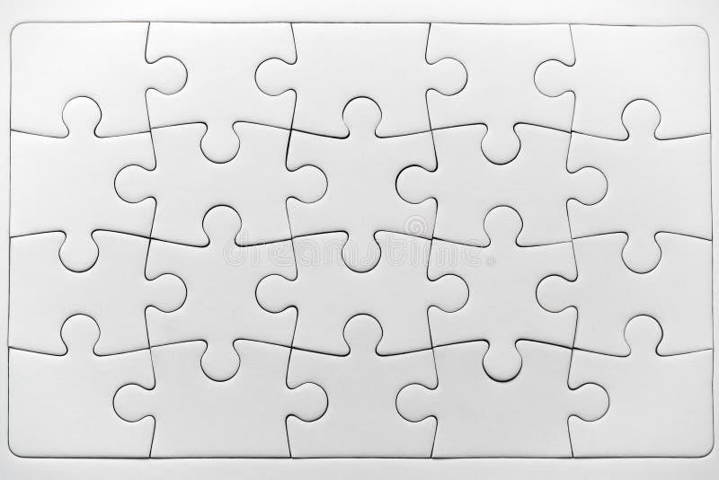 White jigsaw puzzle pattern isolated stock image