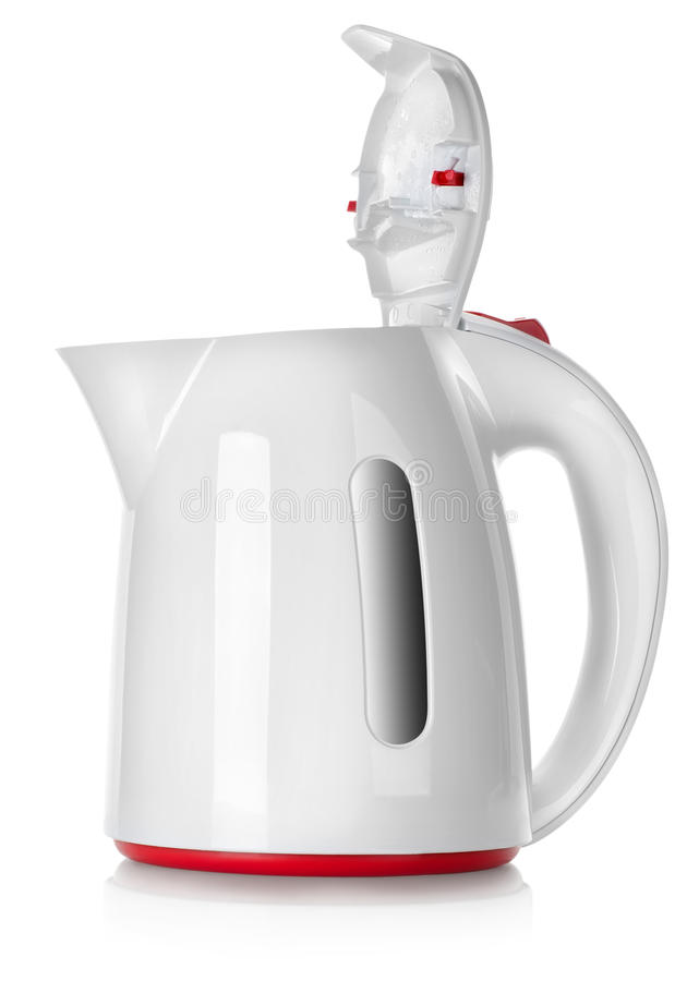 White kettle isolated. On a white background royalty free stock image