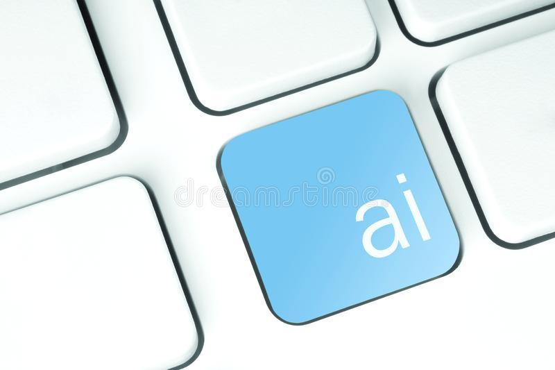Artificial Intelligence Button on keyboard stock photography