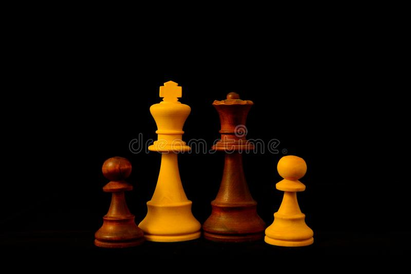 White King, Black Queen and paw as mixed family royalty free stock images
