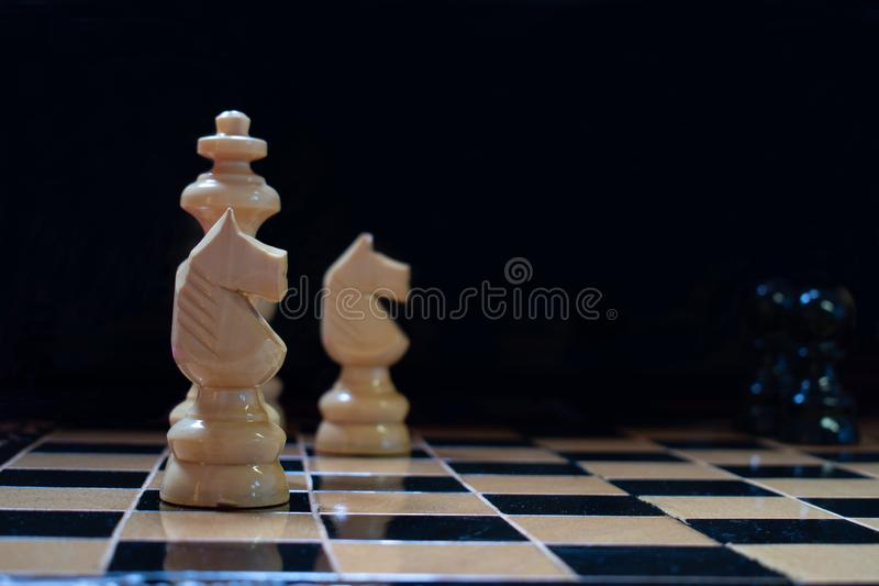 Chess pieces on the chessboard royalty free stock photos