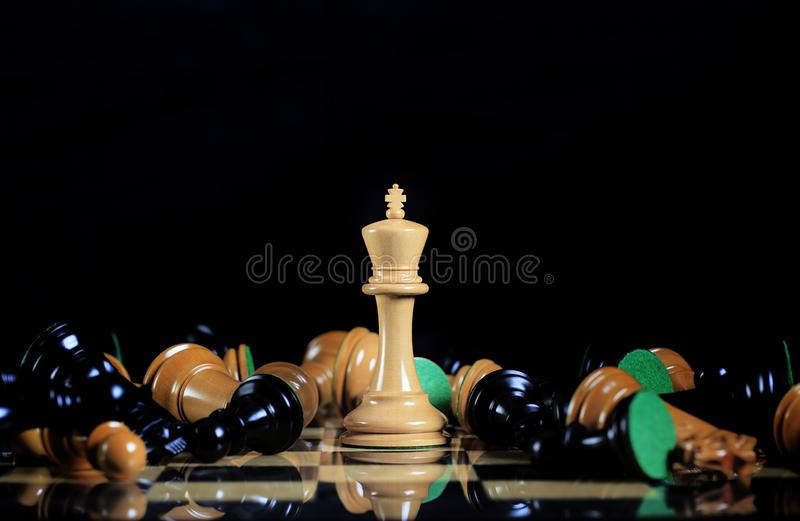 White King Standing on Chess Board Amongst Fallen royalty free stock photo