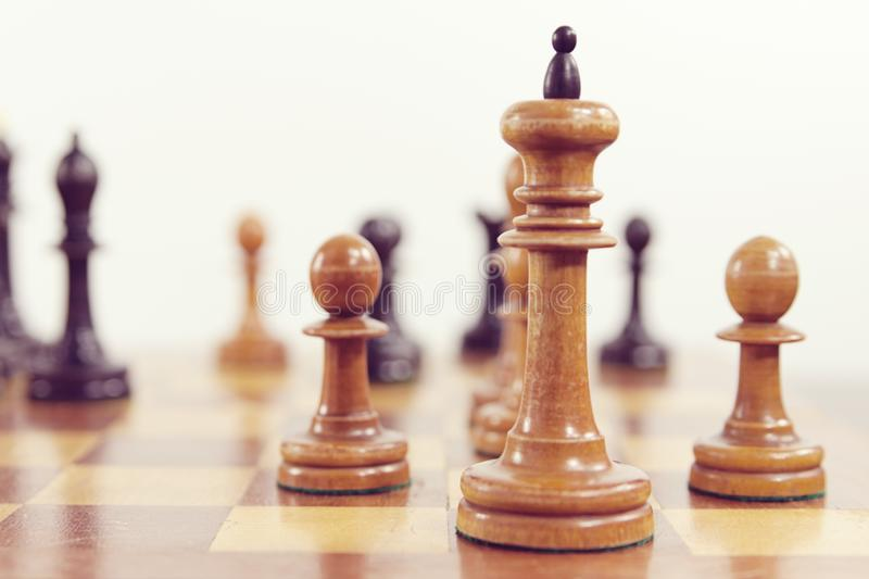 White king and two pawns stock photo