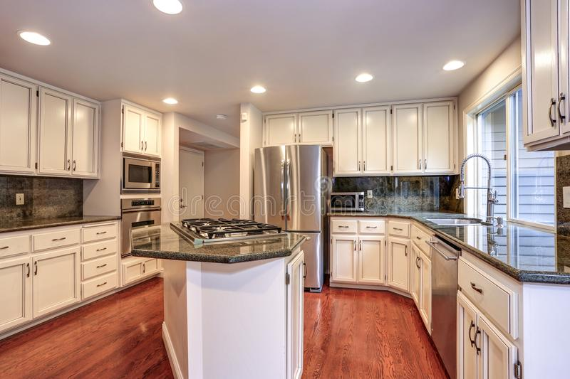 White kitchen room with stainless steel appliances. White kitchen room boasts stainless steel appliances, granite counters, walk-in pantry, island with gas cook royalty free stock photos
