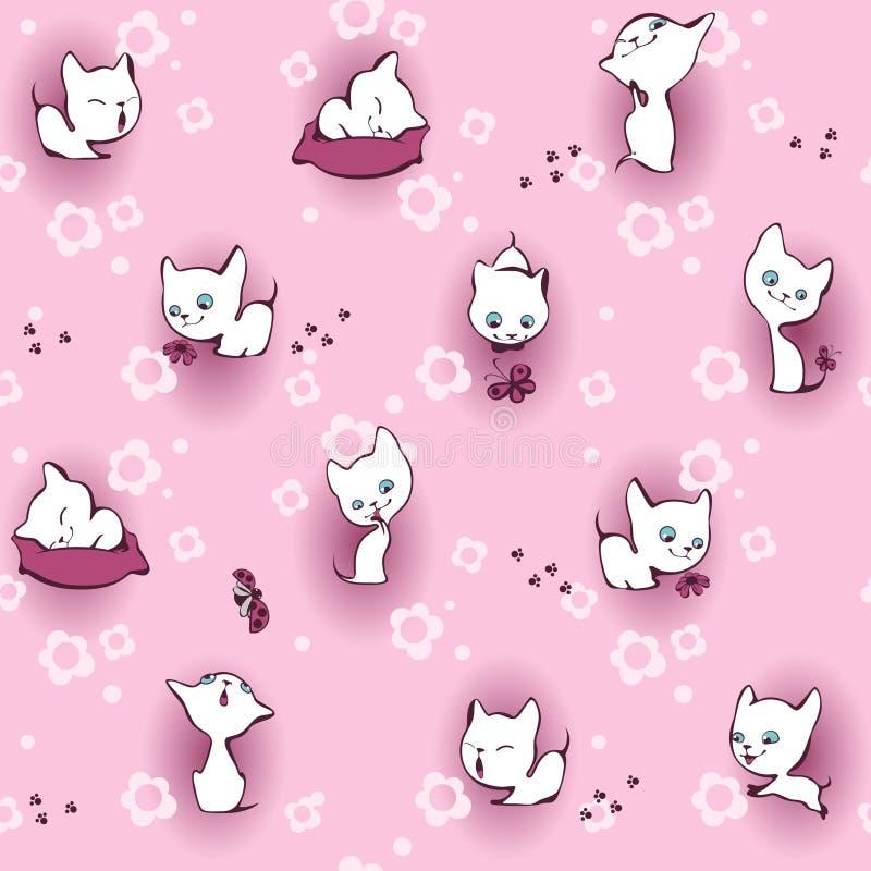 White kitten in flowers stock illustration