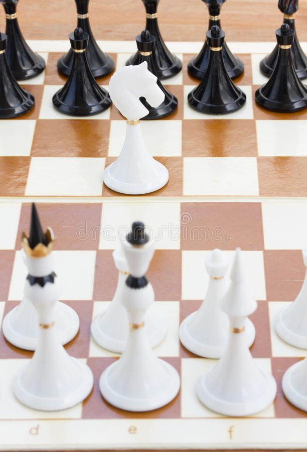 Download White Knight In Front Of Black Chess Stock Image - Image of leisure, different: 39515191