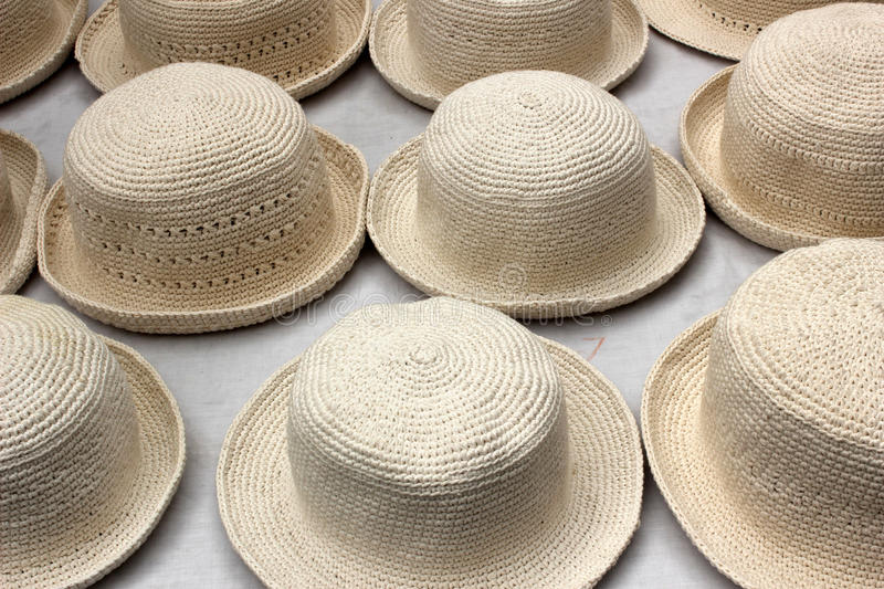 White Knit Hats at the Market stock images