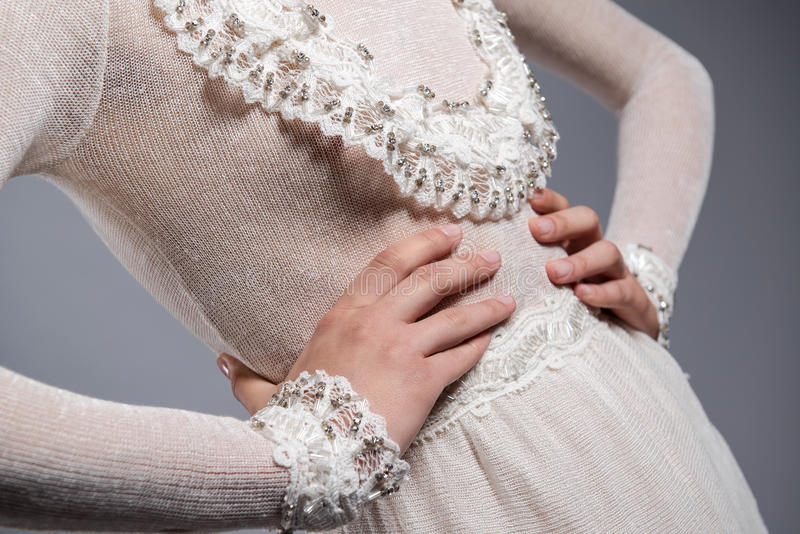 Download White knitted dress stock image. Image of elegance, female - 32909443