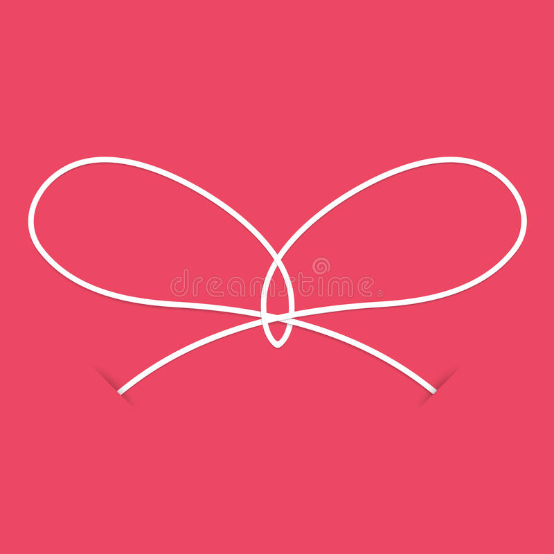 White knot on a pink background stock illustration