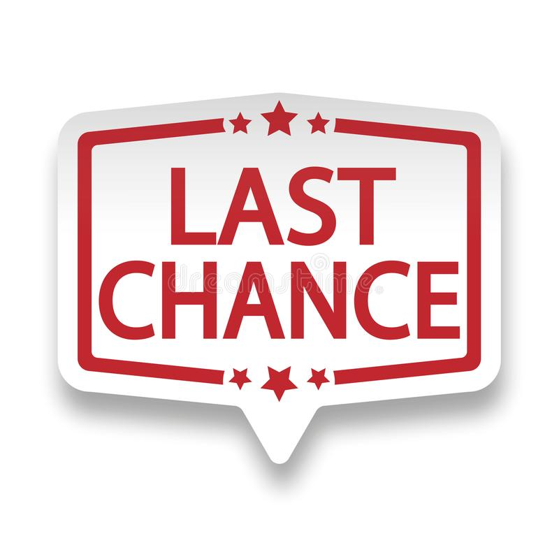 Red last chance web paper label badge on white royalty free illustration