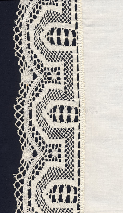 White lace border and material stock images
