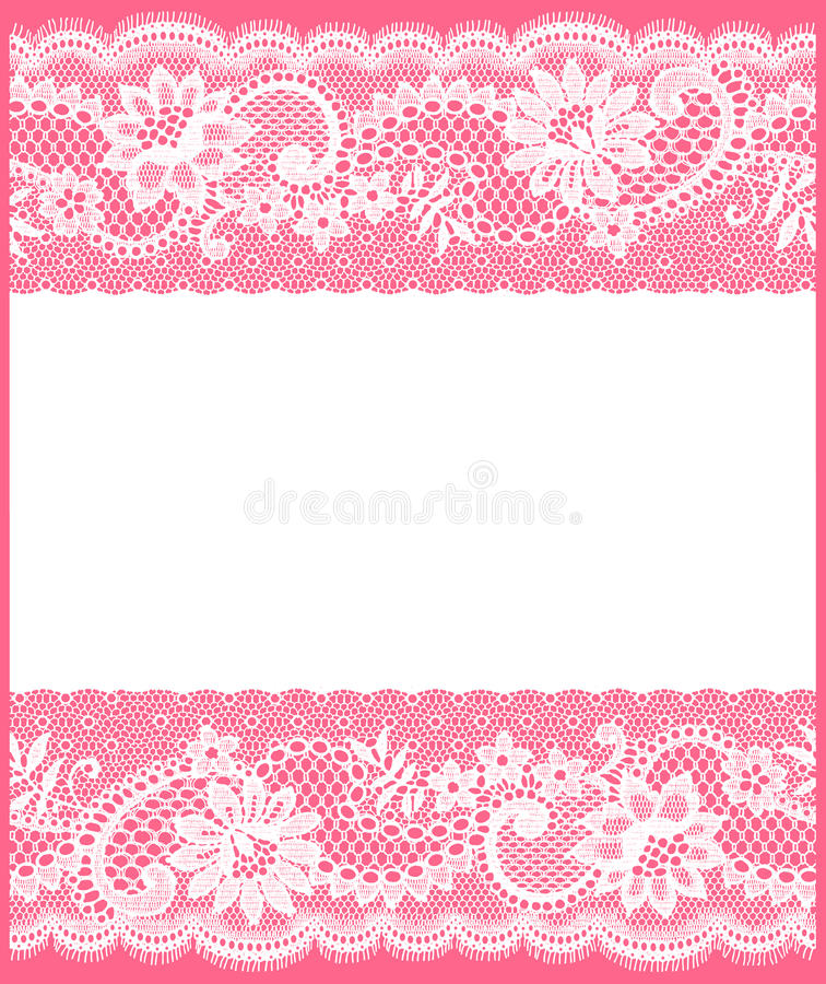 White Lace Card. White Lace. Greeting Card. Pink Background royalty free illustration
