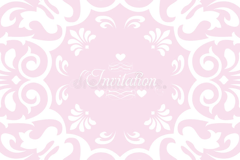 White lace invitation for wedding. With calligraphic text - eps 10 vectors stock illustration