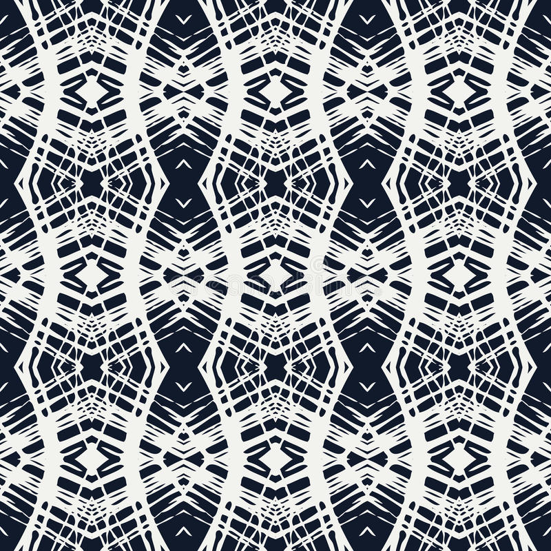 White lace on navy blue vector geometrical pattern royalty free illustration