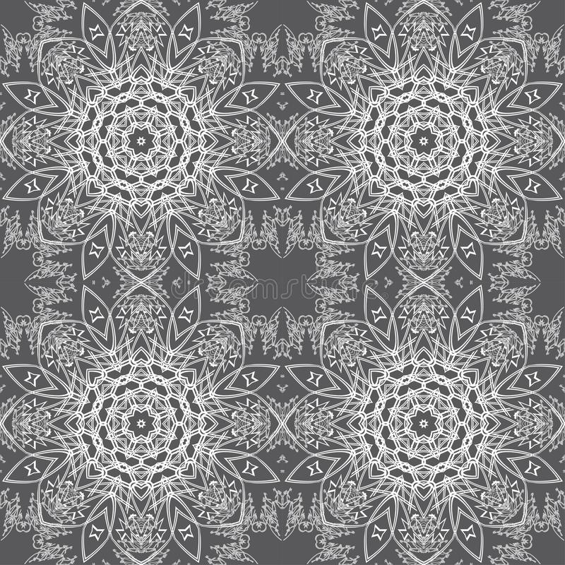 White lace pattern. White pattern, exquisite, design, abstract lines on a grey background vector illustration