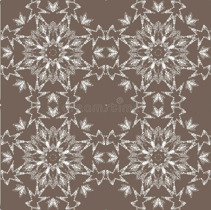 White lace pattern. White pattern, exquisite, design, abstract lines on a grey background royalty free illustration