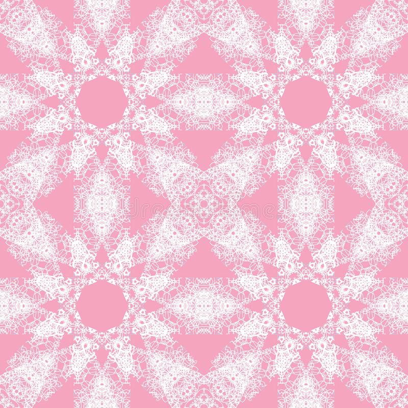 White lace pattern. White pattern, exquisite, design, abstract lines on a pink background vector illustration
