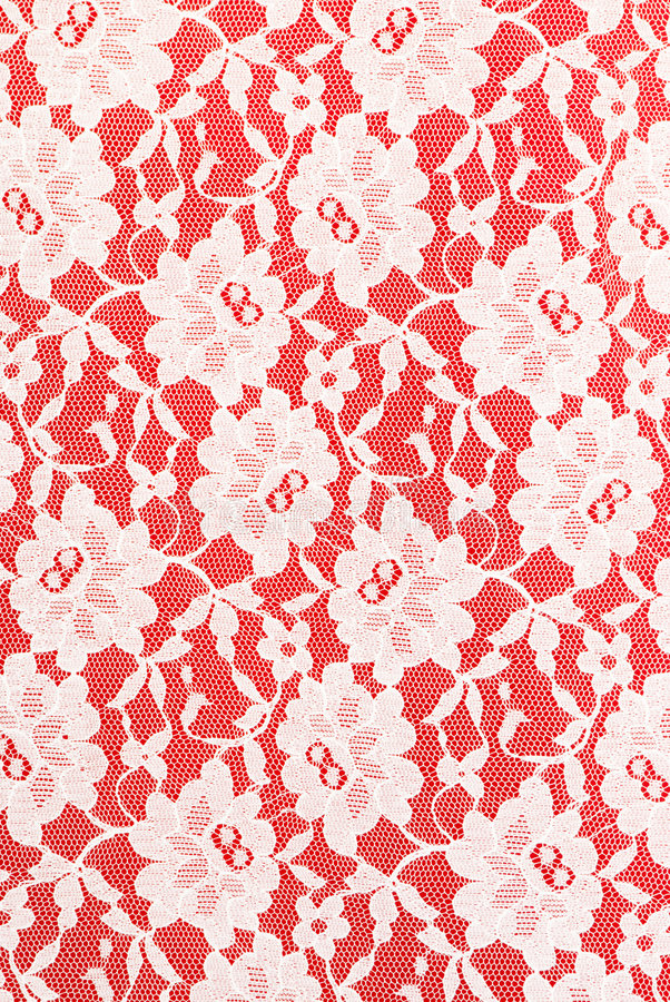 White lace on red background stock images