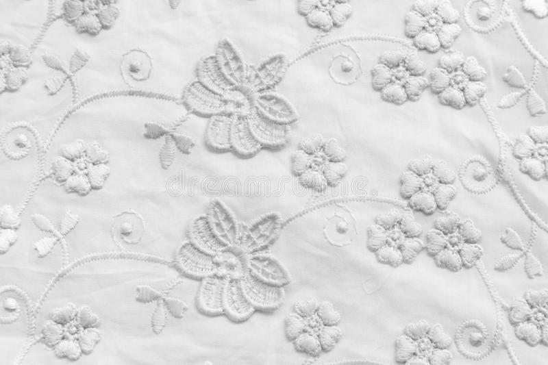 White lace with small flowers. No any trademark or restrict matter in this photo.  stock image