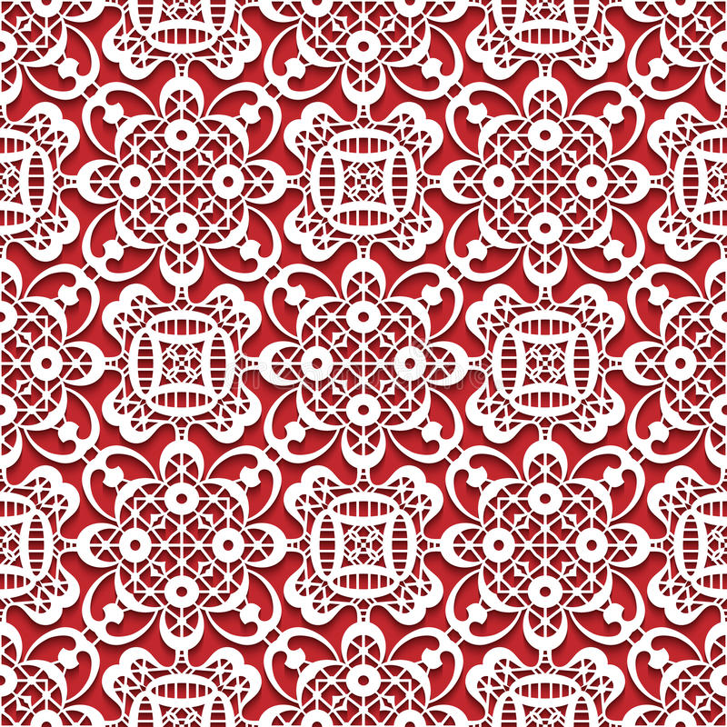 White lace texture on red, seamless lace pattern vector illustration