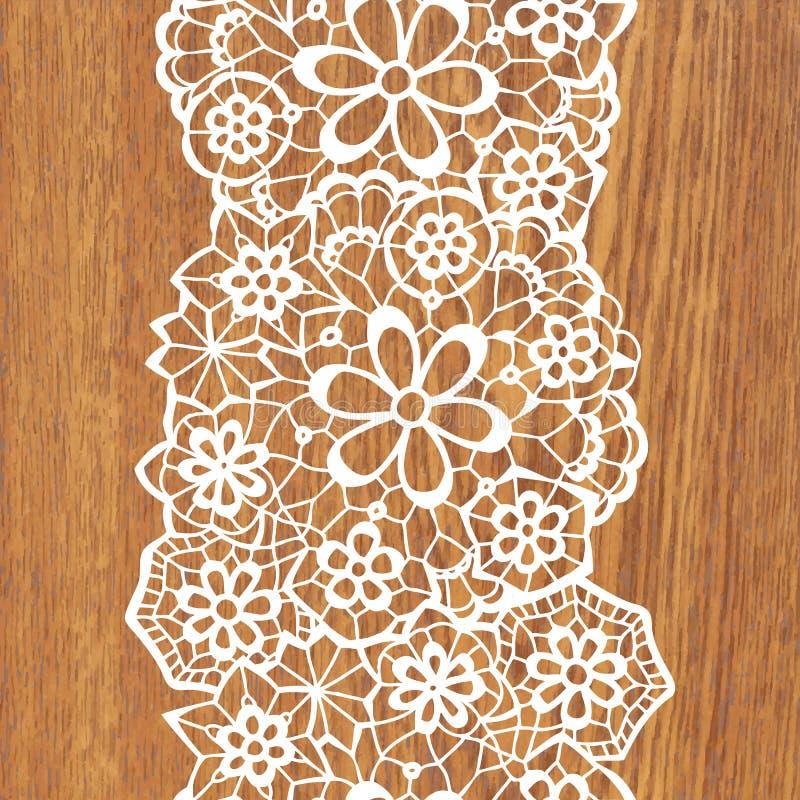 White lace on tree texture. Vector illustration stock illustration