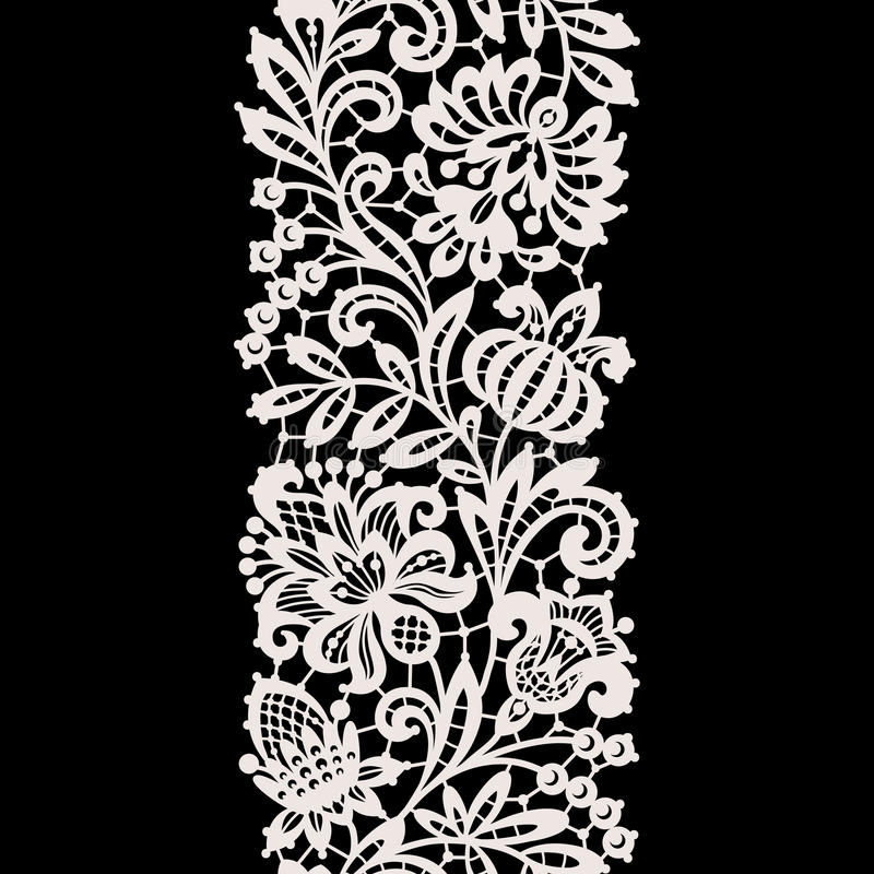 White Lace. Vertical Seamless Pattern. stock illustration
