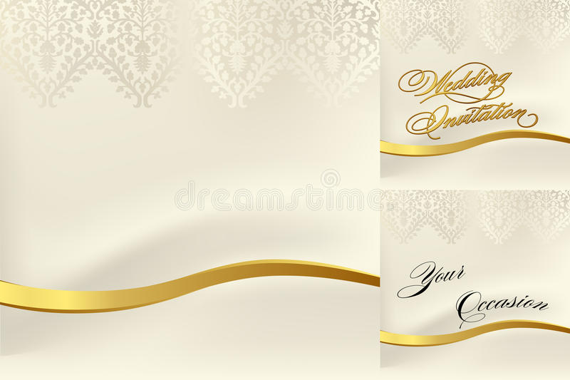 White lace for a wedding. White lace ornament over a silk backdrop with a gold band for weddings and invitations vector illustration