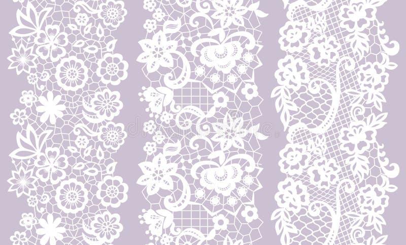 Set of black lacy vintage elegant trims. vector illustration