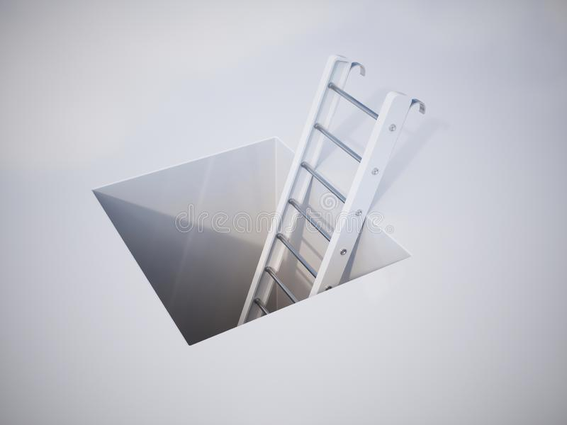 White ladder rising above the square black hole royalty free illustration