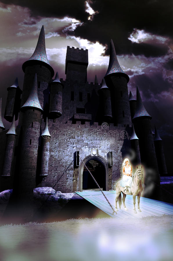 White lady of the castle. Lady riding a horse, like phantoms, at the entrance of a medieval castle royalty free illustration