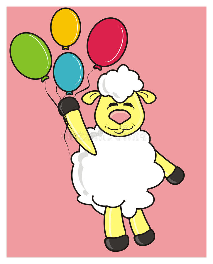 White lamb with colorful balloons stock illustration