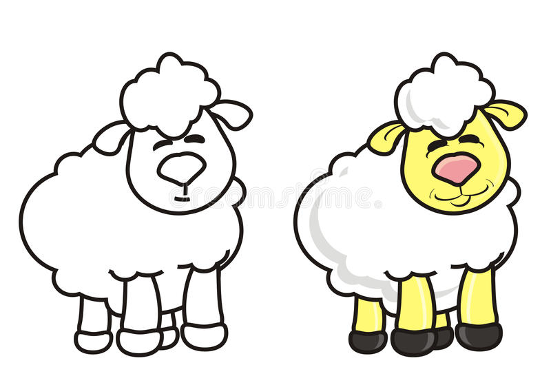 White lamb coloring royalty free illustration