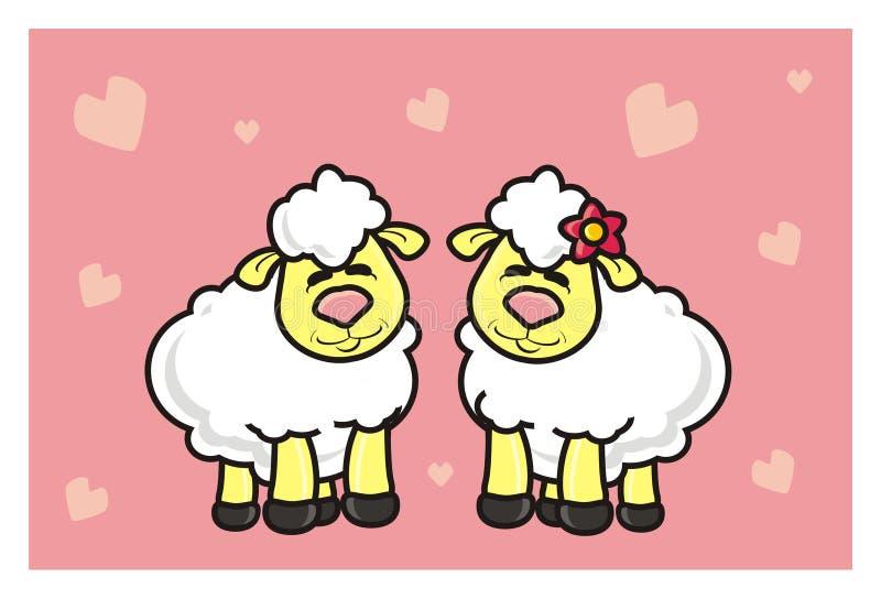 White lamb lovers vector illustration