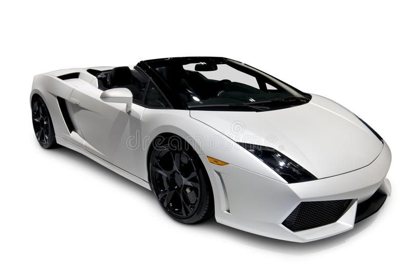 White Lamborghini Roadster with clipping path. White Lamborghini Gallardo Roadster with clipping path. See my portfolio for more vehicle images stock image