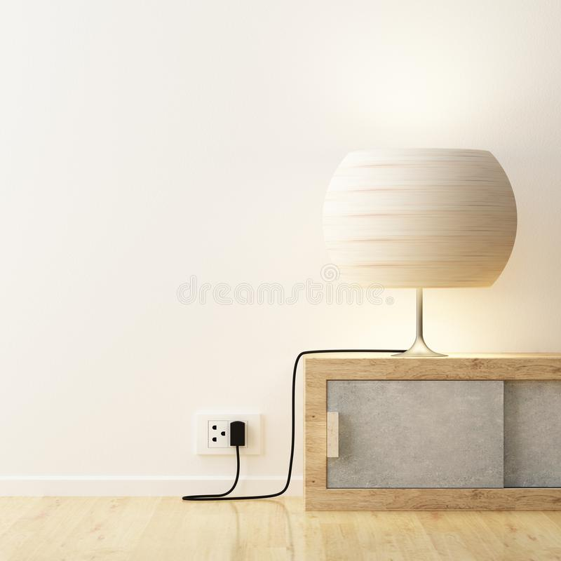 White lamp on cabinet decorate vector illustration
