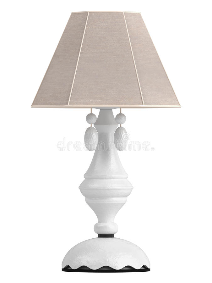 White lamp with hexagonal shade. For the interior decoration of your living room isolated on white stock illustration