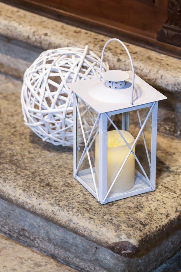 White lantern on the pavement royalty free stock photography