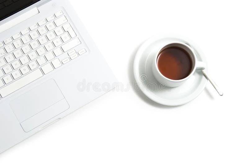 White laptop royalty free stock photography