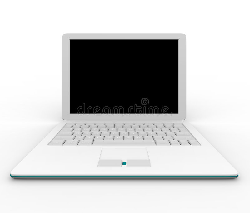 White Laptop Computer. Place your image or message on the blank screen of this white laptop computer royalty free illustration