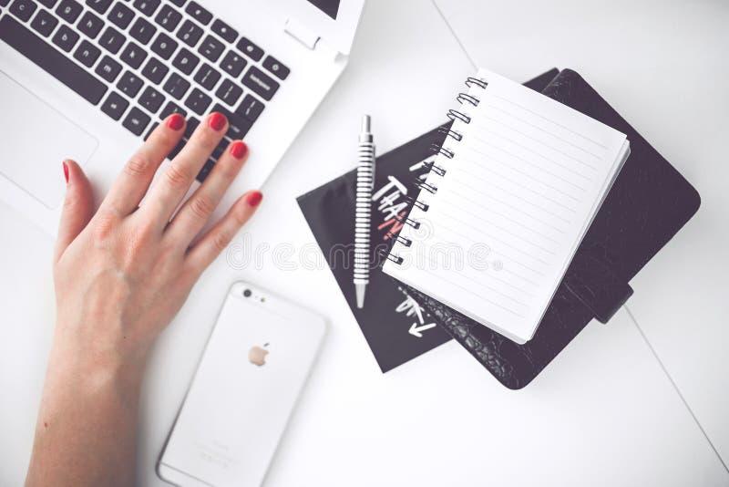 White Laptop, Female Hand, Note, Pen, Phone, Desk Free Public Domain Cc0 Image
