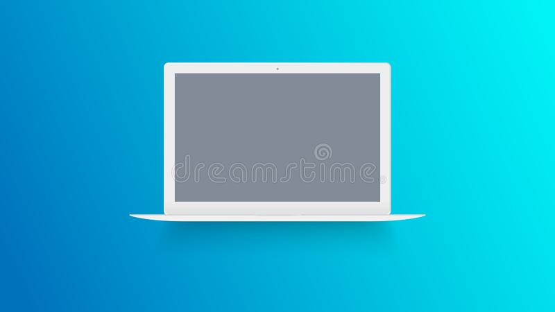 White laptop mockup on color background. Macbook with blank screen. Open notebook front view. Modern thin ultrabook vector. stock illustration