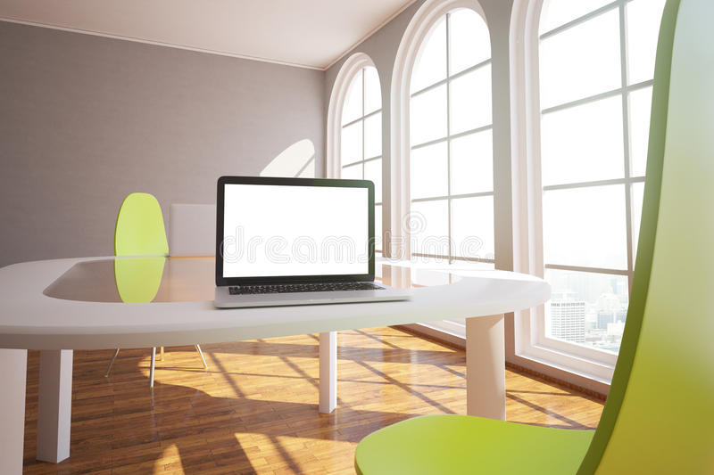 White laptop in modern interior stock illustration